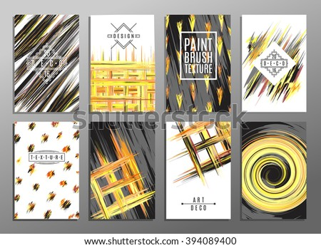 Trendy creative hand drawn cards collection with brush stroke patterns. Acrylic technique. Vector templates for cards, flyers and banners. - stock vector