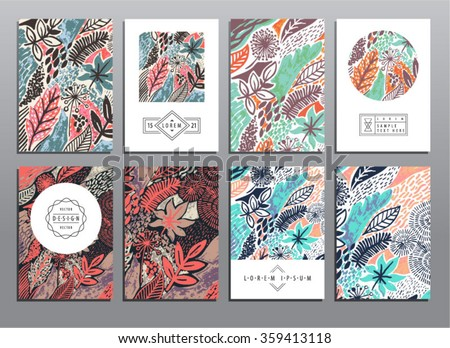 Trendy creative hand drawn cards collection with foliage patterns. Acrylic technique. Vector templates for cards, flyers and banners. - stock vector