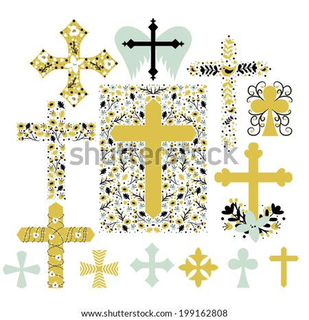 Trendy Cross Illustration Collection in Vector - stock vector