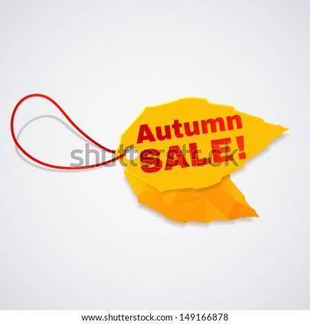 Trendy 3d autumn leaf  sale tag. Vector illustration. - stock vector