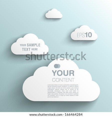 Trendy 3D Background Clouds With Transparent Shadow - stock vector