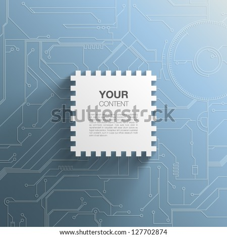 Trendy 3D Microchip Design With Transparent Shadow And Detailed Printed Circuit Board Background - stock vector