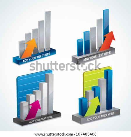 Trendy 3d vector graph or diagram set with arrows - stock vector