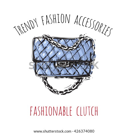 Trendy fashion accessories: fashionable clutch. Trendy soft colored glamour fashion accessory in vogue style. Isolated fashion art element with two inscription around. Simple greeting card or flyer. - stock vector