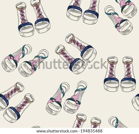 trendy fashion  sandals.  Fashionable Hand drawn illustration. - stock vector