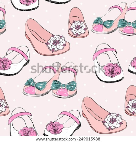 trendy fashion  shoes.  Fashionable Hand drawn illustration. - stock vector