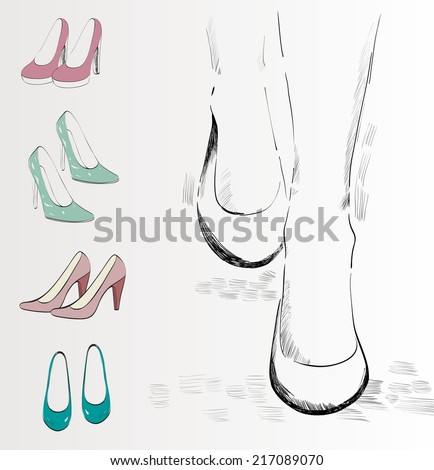 trendy fashion  shoes.  Vector Hand drawn illustration. - stock vector