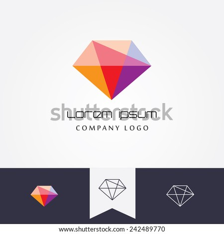 trendy flat design facet crystal gem shape logo element in multiple colors for business visual identity- black and white mono thin lined geometric icon versions included - stock vector