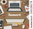 Trendy Flat Design Illustration: Teamwork office workplace. Icons set of business work flow items, elements and gadgets - stock vector