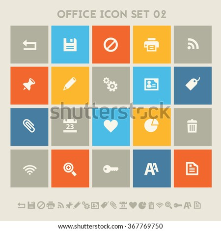 Trendy flat design office set 2 icons on colored square buttons - stock vector