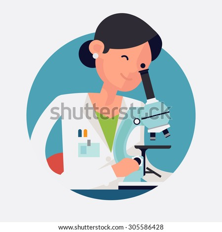 Trendy flat design round web icon on female scientist character at work | Concept design on chemistry laboratory specialist working on research and exploration  - stock vector