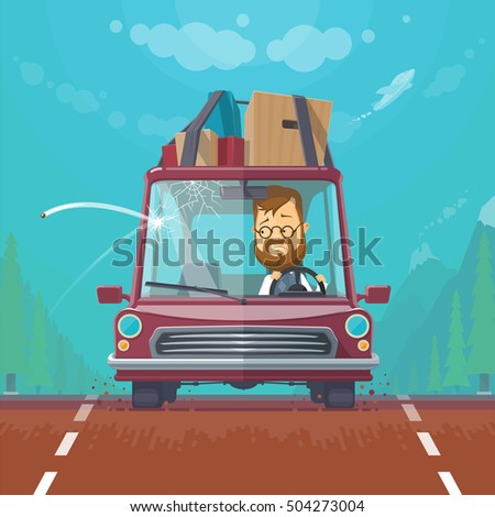 Trendy flat design vehicle sedan car accident after a car accident, a broken traffic and surly driver,aircraft in the sky, crack on the windshield, vector illustrations
