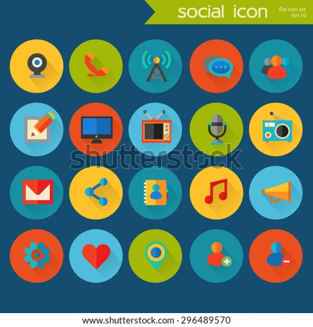 Trendy flat detailed social colored icons on colored circles - stock vector