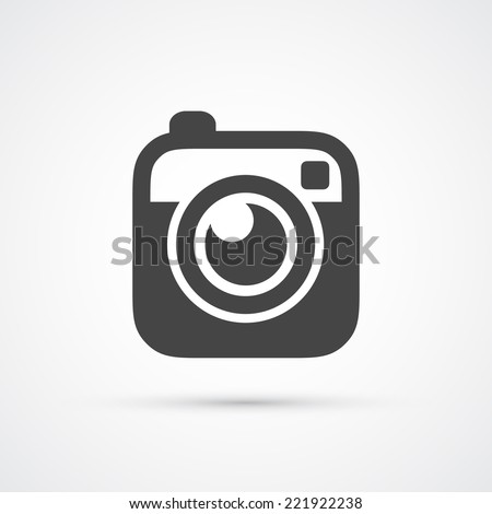 Trendy flat Hipster camera photo icon. Vector - stock vector