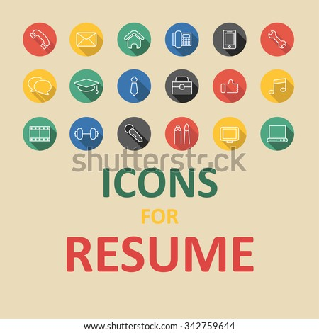 Icons Set Your Resume Cv Job Stock Vector 357219389 - Shutterstock