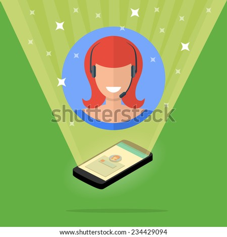 Trendy flat illustration of cute support phone operator with headsets and microphone. - stock vector