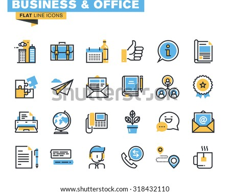 Trendy flat line icon pack for designers and developers. Icons for business, office, company information and services, communication and support, for websites and mobile websites and apps.  - stock vector