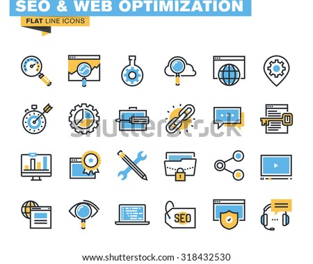 Trendy flat line icon pack for designers and developers. Icons for seo and web optimization, for websites and mobile websites and apps.  - stock vector