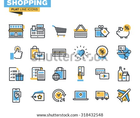 Trendy flat line icon pack for designers and developers. Icons for shopping, e-commerce, m-commerce, delivery, for websites and mobile websites and apps.  - stock vector