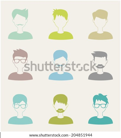 trendy flat man icons set - stock vector