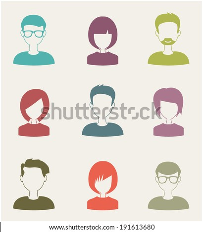 trendy flat people icons - stock vector