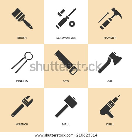 Trendy flat working tools icons black silhouettes. Vector illustration  - stock vector