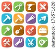 Trendy flat working tools icons. Vector illustration - stock