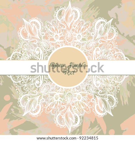 Trendy  Floral Background with Vintage Label - stock vector