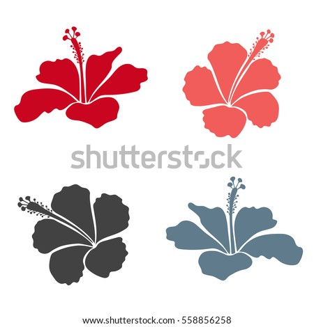 Trendy floral vector collection with four pink and red hibiscus flowers.