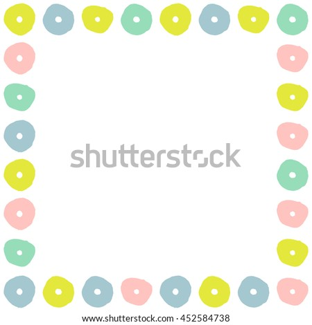 Trendy frame with colorful stylized flowers. Vector illustration. - stock vector