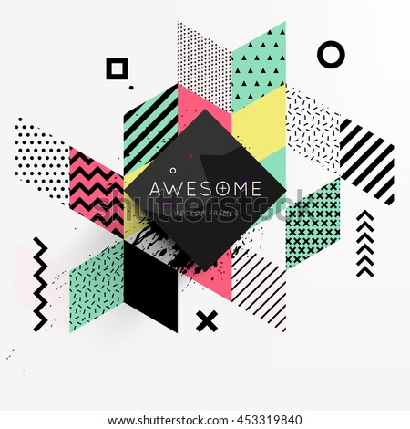 Trendy geometric flat pattern, frame with abstract background for brochure, flyer or presentations design, vector illustration. - stock vector