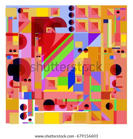 Trendy geometrical vector illustration with elements and abstract colorful textures. Design for summer holiday poster, card, brochure, and promotion template. Fashion art print and background.