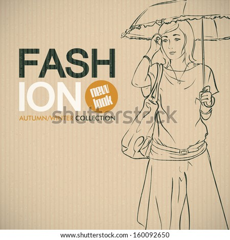Trendy girl sketch on cardboard paper. Vector collection. - stock vector
