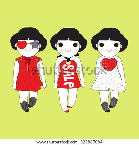 Trendy Girls illustration set - stock vector