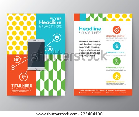 Trendy Graphic Design Layout with smart phone concept vector template for flyer brochure leaflet poster  - stock vector