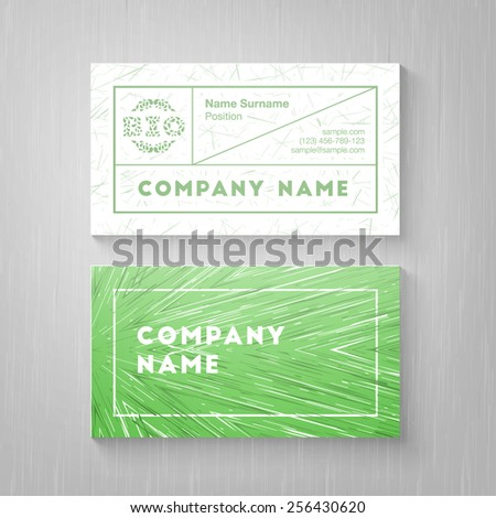 Trendy green business card template. High quality design element - stock vector