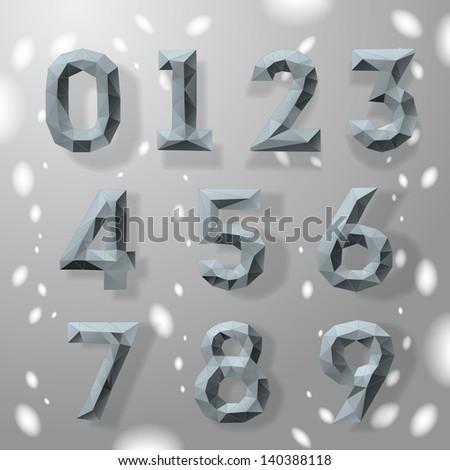 Trendy grey fractal geometric numbers, part 4. Vector Illustration.  - stock vector