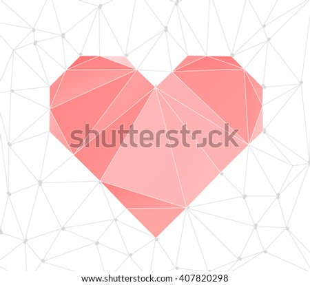Trendy Heart Triangular Background. Lowpoly Polygonal Vector illustration. - stock vector