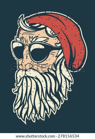 Trendy hipster Santa Claus vector illustration. Santa's head half turned simple comic heavy contour style drawing. Stylish beard and sunglasses. - stock vector