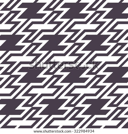 """Trendy Houndstooth Seamless Pattern for Textile Design. Maze Texture with Black """"Z"""" Shapes and Crosses - stock vector"""