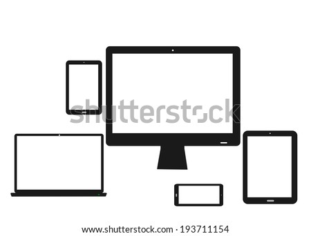 Trendy Illustration of mobile and computer devices with laptop, monitor screen, tablet, mini tablet and a smartphone - stock vector