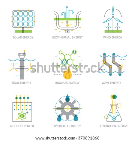 Trendy linear design set of icons on electricity generation plants and sources. Clean sources of power. Ecology infographic elements - stock vector