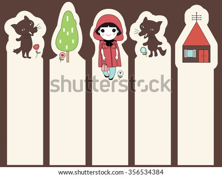 Trendy Little Red Riding Hood Post-it Bookmark Stickers Character Design illustration - stock vector