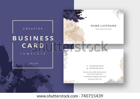 Trendy Minimal Abstract Business Card Template In Beige And Blue Modern Corporate Stationary Id Layout