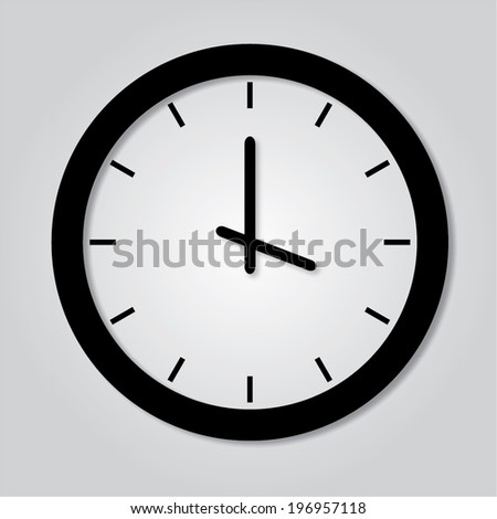 Trendy Minimalistic  Clock With Transparent Shadow - stock vector
