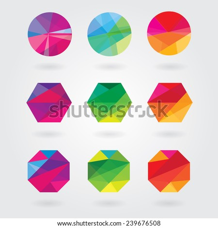 trendy modern abstract logo element designs in polygonal triangular geometric compositions- colorful business design icon shapes - stock vector
