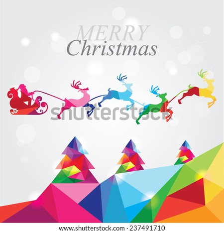trendy modern merry christmas landscape with santa in reindeer sleigh flying over forest in abstract colorful geometric composition- polygonal style - stock vector