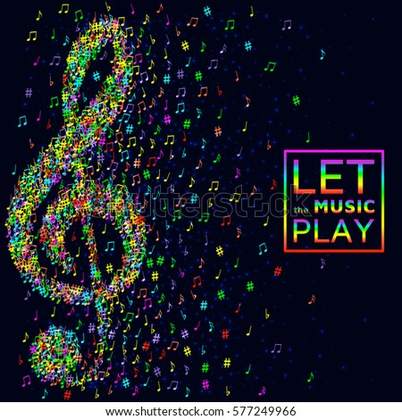 trendy neon background musical notes vector stock vector