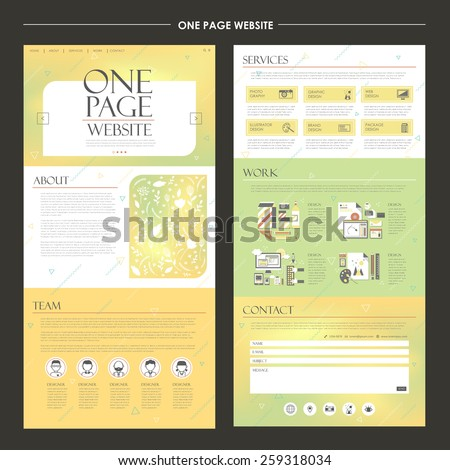trendy one page website design template in yellow and green - stock vector
