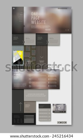 trendy one page website design with blurred background - stock vector